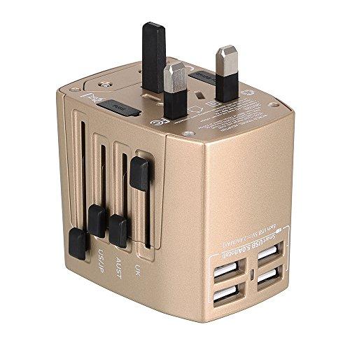 Milool Adattatore Universale da Viaggio Travel Adapter Universal (US/EU / UK/aus) Caricatore 4 Porte USB per Oltre 150 Paesi Internazionale di Potere di Corsa Spina CA della Presa di Corrente (Oro)