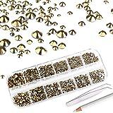 Mwoot Piedras de estrás 2000 Unidades para manualidades de uñas, gemas de cristales 6 tamaños (2-5 mm), gemas de uñas con pinzas y un bolígrafo para DIY Art Face(Oro)