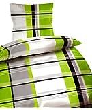 Leonado Vicenti Bettwäsche 135x200 oder 155x220 Microfaser 2tlg. Garnitur Kissen Decke Bezug Farbe wählbar, Maße:135 cm x 200 cm;Muster:Adrian Grün