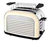 Team Kalorik 2-Scheiben-Toaster, Retro-Design, Separater Brötchenaufsatz, Integrierte Krümelschublade, 1050 W, Creme-Weiß, TKG TO 2500 Creme