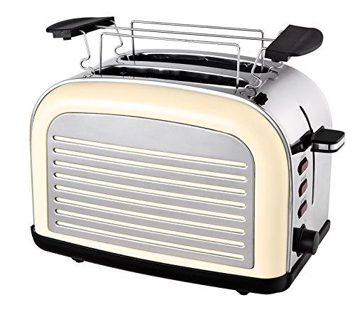 Team Kalorik 2-Scheiben-Toaster, Retro-Design, Separater Brötchenaufsatz, Integrierte Krümelschublade, 1050 W, Creme-Weiß, TKG TO 2500