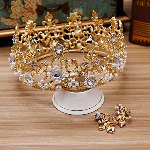Y-XM Braut Kopfschmuck Romantische Barock Prinzessin Krone Erwachsene Legierung Haarnadel mit Diamant