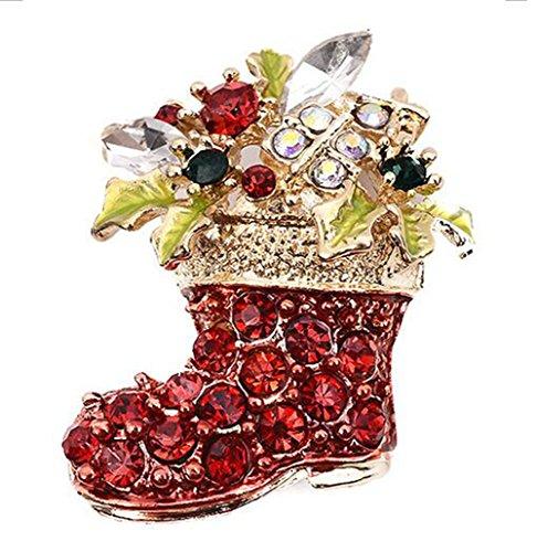 Stil Stiefel (Cdet Brosche Farbe Diamanten Weihnachten Stiefel Pins Stil Weihnachten Geschenk Frauen Brosche/Herren Brosche Anzug Brooch/Urlaub Zubehör/Hochzeit Dekoration/Geburtstags Geschenk Pin,1 Stuck)