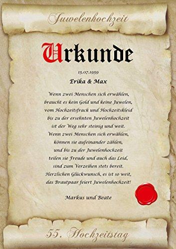 Juwelenhochzeit Urkunde personalisiert Geschenk Karte zum 55. Hochzeitstag Pergament div. A4 Papier...