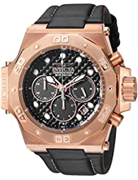 Invicta Men's 'Akula' Quartz Stainless Steel and Leather Casual Watch, Color:Black (Model: 23104)