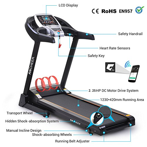 51KAPPuKq L. SS500  - ANCHEER S8500 Treadmill APP Control, New Electric Motorised Treadmill Machine Folding Running Machine with 2 Levels Manual Incline