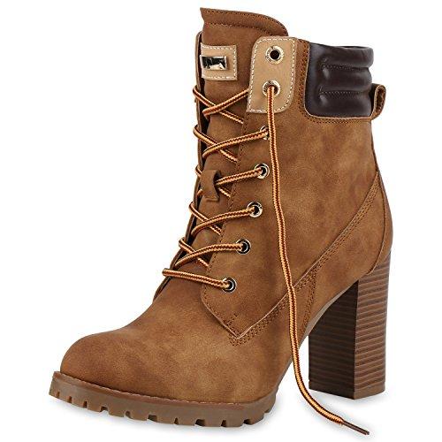 napoli-fashion Damen Schuhe Schnürstiefeletten Worker Boots Stiefeletten Block Absatz Jennika Hellbraun
