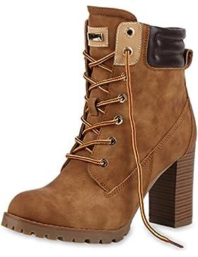 napoli-fashion Damen Schuhe Schnürstiefeletten Worker Boots Stiefeletten Block Absatz