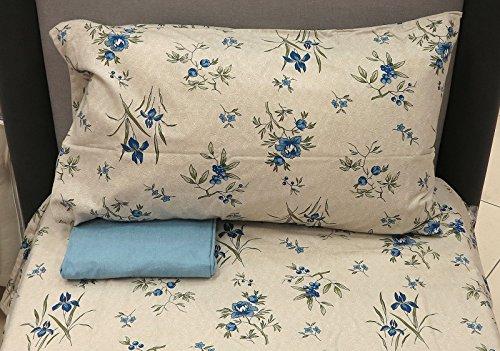 Completo lenzuola letto 1 una piazza e mezza 1,5 piazze zucchi easy chic 100% flanella di puro cotone (anne - celeste)