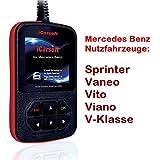 XXLTECH - Dispositivo de diagnóstico en alemán i980ICarSoft. Mercedes Benz Sprinter Vaneo Vito, Viano Clase V. Lee y borra códigos de error, motor de airbag ABS Kombi instrumento y todas las demás piezas de mando