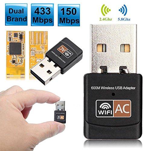 Espeedy Adaptador WiFi USB,Antena inalámbrica del adaptador de WiFi de 600 Mbps Banda dual receptora del Ethernet de la PC del Lan USB 2.0 2.4G / 5GHz LAN 802.11AC