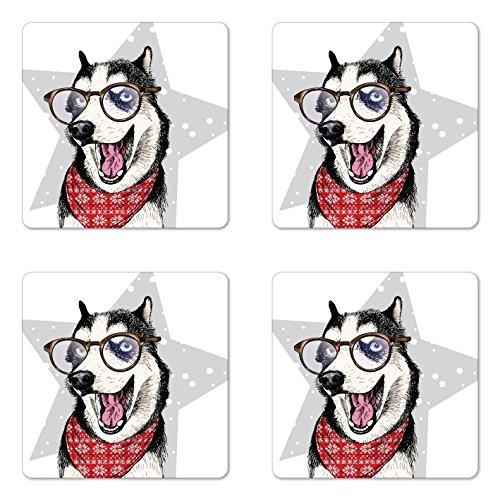 Lunarable Husky Untersetzer 4er Set Sibirien Domestic Husky Dog trägt Bandana und Brille Stehen in Einer lustigen Pose, quadratische Untersetzer aus Hartfaserplatte glänzend für Getränke, Mehrfarbig