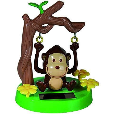 Out of the blue 57/9748–Ometto scimmia dondolante a base di plastica con pannello solare, circa 10cm in confezione blister da appendere - Out Pannello