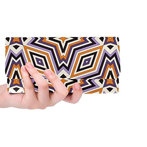 Einzigartige helle geometrische Verzierungs-Halloween-Frauen-dreifachgefaltete Mappen-Lange Geldbeutel-Kreditkarte-Halter-Fall-Handtasche