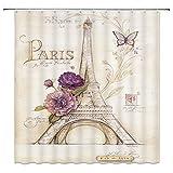 Feierman Colorful Romantisches Paris Duschvorhang Decor Abstrakte Malerei Eiffelturm Stoff Badezimmer Vorhang Dekor-Set mit Haken 177,8x 177,8cm Multi 3652