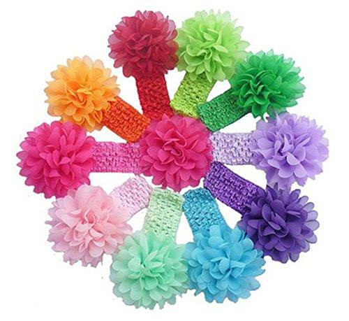 CuteOn 10 St¨¹ck Baby-Kleinkind -elastische Spangen-Stirnband -Chiffon- Blumen-Haar-Bogen