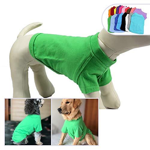 longlongpet 2019 Haustier-Kostüme für Welpen, Hunde, unbeschriftet, T-Shirt, T-Shirts für große, mittelgroße und kleine Hunde, 100% Baumwolle, 18 Farben