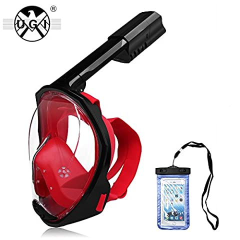 UGI® 180 Degree Full Face Scuba Diving Mask Anti-fog Anti-leak Technology with Foldable Ventilation Tube and Removable GoPro Camera Mount,Includes Earplugs & Waterproof Smartphone Pouch