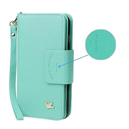 """xhorizon MSH Folio Case Cuir de bonne qualité,Portefeuille Coque pour iPhone6 plus/6S plus magnétique détachable avec Logements de Carte, [5.5""""] fermoir aimanté menthe avecsupport voiture"""