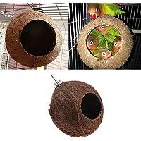 Lunji 1pc Nido pájaro Natural Coconut Shell para periquitos Budgerigar