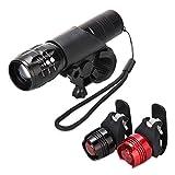 LED Fahrradbeleuchtung, CREE XML-T6 LED Fahrradlampe Set inkl. Frontlicht & 2 Rücklicht, Zoombar, 900LM, 7 Licht-Modi, Farradlicht Set für Radfahren, Camping und täglichen Gebrauch, Wasserdicht Schwarz