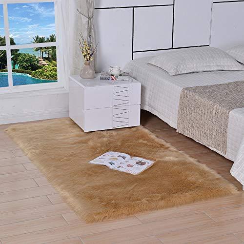 Sheepskin Schaffell-Teppich Nachahmung Wolle Teppich Polypropylen + Polyester Lange Filz Bucht Fensterkissen Zum Schlafzimmer Wohnzimmer (5-7cm Haarlänge) Private Gewohnheit,Brown-180 * 220cm