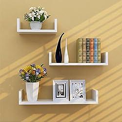 TANBURO 3 × Etagère Murale, étagère à livres, Etagère Suspendue Tablette, Murale Etagère Bibliotheque, étagère CD DVD murale Salon Design Rétro - Blanc (Type-02)