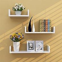TANBURO Juego de 3 Estantes Tablero de pared en U-Forma para Libros CDs Estanterías de pared Cubos retro, MDF Holz -Blanco