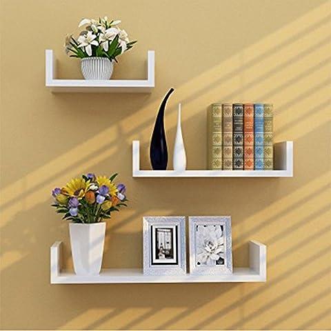 TANBURO 3 × Etagère Murale, étagère à livres, étagère CD DVD murale Salon Design Rétro - Blanc