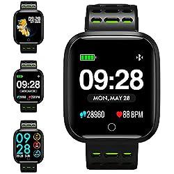 KUNGIX Montre Connectée, Q8 Bluetooth Smartwatch Fitness Tracker d'activité Montre Sport Podomètre IP67 Etanche Bracelet pour iPhone et Android (Vert)
