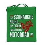 Hochwertiger Jutebeutel (mit langen Henkeln) - Motocross Shirt · Dirtbike · Geschenk für Enduro Fahrer · Spruch: Ich schnarche nicht