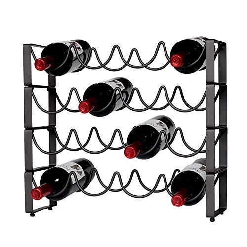 Weinregal-Verkaufsregal Welle Weinregal Wein Display Rotwein Regal Bar Weinflasche Dekoration Schmiedeeisen Kreative Europäischen Wohnzimmer Hause (Farbe : Schwarz, Größe : 45.2cm)