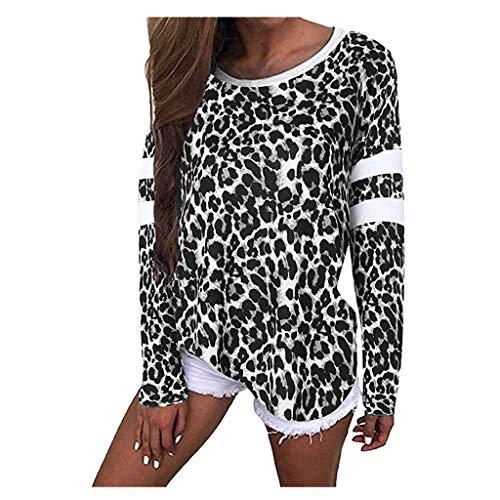 Feinny Herbst und Winter Damenmode Lässig Rundhals Leopardenmuster Bequem Atmungsaktiv Langarm Lose Pullover Shirt/S-XXL/Schwarz