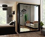 Schiebetürenschrank - Kleiderschrank - Schwebetürenschrank EIFFEL in Schwarz, mit Spiegel, Breite: 120cm/150cm/160cm/203cm