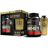Optimum Nutrition 30 Jahre Geburtstagsbundle - Shaker und Whey Gold Standard Protein, Double Rich Chocolate + gratis Shaker, 1er Pack (1 x 2273g)