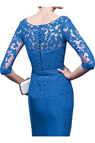 Sunvary Damen Rund Etui Spitze Satin Brautmutterkleid Kurz Arm Abendkleider Partykleider Royalblau