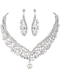 Clearine Women's Wedding Bridal Crystal Ivory Color Simulated Pearl Spiral Filigree Pendant Necklace Hoop Huggie Earrings Set