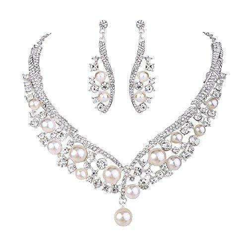 Clearine Femme Mariage Parures Cristal Perle Artificielle...