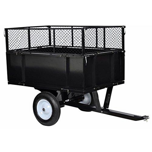 mewmewcat Anhänger für Aufsitzmäher Rasentraktor mit Gitter und Seitenwänden Kippbar 300 kg