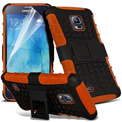 Samsung Galaxy S5 Neo hülle Tasche (Grün + Kopfhörer) Slim-Fit-Abdeckung für Samsung-Galaxie-S5 Neo-hülle Tasche Haltbarer S Linie Wellen-Gel-Kasten-Haut-Abdeckung + mit Aluminium Earbud Kopfhörer, Po Shock proof + (Orange)
