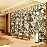 Fototapete 3D Effekt Tapete Stein der Dunhuang Feitian-Wohnzimmerwand meißelt Vliestapete 3D Wallpaper Moderne Wanddeko Wandbilder