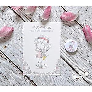 Blumenmädchen fragen, Karte mit Button, Geschenk für Flowergirl auf Hochzeit, Blumenkind