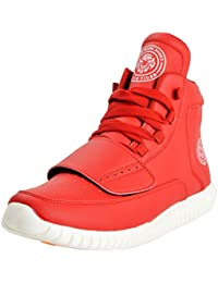Black Tiger Men's Synthetic Leather High Top Casual Shoes Red