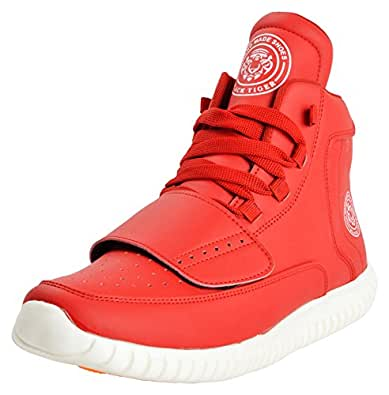 Black Tiger Men's Synthetic Leather High Top Casual Shoes 8028 Red -10