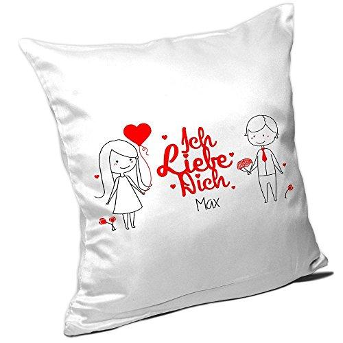 Kissen mit Spruch – Ich liebe dich Max – und schönem Motiv mit verliebtem Pärchen zum Valentinstag | Kissen für Verliebte | Namenskissen