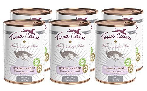 Terra Canis Hypoallergen Nassfutter I Reichhaltiges Premium Hundefutter in echter Lebensmittelqualität mit Strauß, Pastinake & Leinöl I 6 x 400 g, allergenarm, getreidefrei & glutenfrei