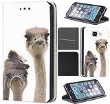 Samsung Galaxy S3/S3 Neo Hülle von CoverHeld Premium Flipcover Hülle Samsung S3/S3 Neo aus Kunstleder Flip Case Motiv (741 Strauß Straußenköpfe)