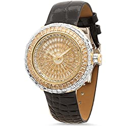 Iced Out Gold Plated 44mm Round Bling Master CZ Watch w/Leather Band