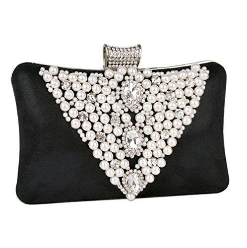 Sallyshiny donna con varietà di cristallo di rocca, con perle di cristallo-Evening Clutch Bag-Sacchetti per feste, matrimoni o da borsetta (nero)