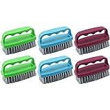 COM-FOUR ® Hand Cleansing Brush in Various Colours 6er Mix - lila/blau/grün - mit Griff